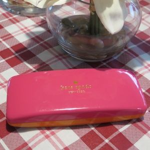 Kate Spade Pink Orange Eye Glass Case *EUC*